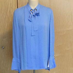 Elie Tahari V-Neck Blouson-Sleeve Silk Blouse